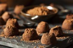 Utsmyckade mörka chokladtryfflar Royaltyfri Fotografi