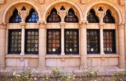 utsmyckade reflexionsuniversitetarfönster yale Arkivbild