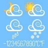 Utsmyckade vädersymboler Arkivbild