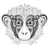 Utsmyckat apahuvud för vektor stock illustrationer