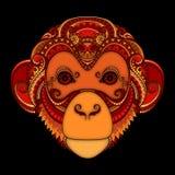 Utsmyckat apahuvud för vektor Mönstrad stam- kulör design vektor illustrationer