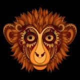 Utsmyckat apahuvud för vektor Mönstrad stam- kulör design stock illustrationer