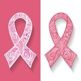 Utsmyckat emblem, band av bröstcancer stock illustrationer