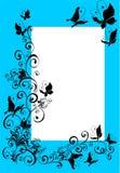 utsmyckat foto för fjärilsflorelram stock illustrationer