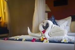 Utsmyckat hotellrum i Bali, Indonesien fotografering för bildbyråer