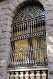 Utsmyckat järn snör åt fönstersäkerhetsgallret royaltyfri fotografi