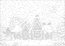Utsmyckat journalhus under snö royaltyfria foton
