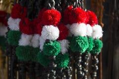 Utsmyckat läder piskar till salu i ungerska nationella färger Royaltyfri Fotografi