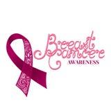 Utsmyckat rosa band för vektor av bröstcancer på vit bakgrund royaltyfri illustrationer