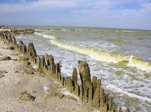 Utsmyckat staket vid havet fotografering för bildbyråer