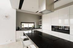Utsmyckat svartvitt kök royaltyfria bilder