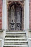 utsmyckat trä för dörr arkivbild