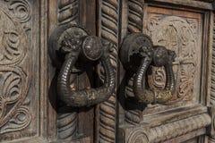 utsmyckat trä för dörrar royaltyfri fotografi