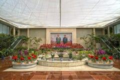 Utställning av blommor i Pyongyang DPRK - Nordkorea Arkivfoto