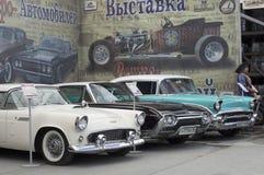 Utställning av retro-bilar Royaltyfri Fotografi