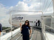 Utställning för Lufthansa Boeing jumbojet 747 Royaltyfri Fotografi