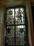 Utställning för målat glassfönster i det regements- museet i stadsmuseet i Lancaster England i mitten av staden royaltyfri fotografi