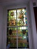 Utställning för målat glassfönster i det regements- museet i stadsmuseet i Lancaster England i mitten av staden arkivfoton