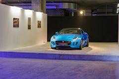 Utställning med den Jaguar F-TYPE bilen i Kiev, Ukraina Royaltyfri Fotografi