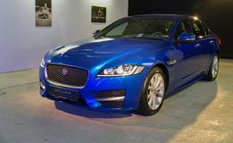 Utställning med Jaguar XF i Kiev, Ukraina Royaltyfria Bilder