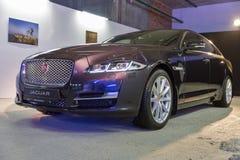 Utställning med Jaguar XJ i Kiev, Ukraina Royaltyfri Foto