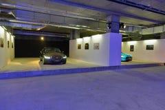 Utställning med moderna lyxiga Jaguar bilar i Kiev, Ukraina Arkivbilder