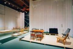 Utställning på det finlandssvenska designmuseet (Designmuseo) i Helsink Royaltyfri Fotografi