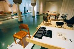Utställning på det finlandssvenska designmuseet (Designmuseo) i Helsink Royaltyfri Bild