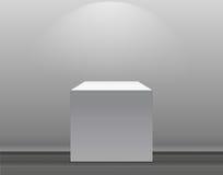 Utställningbegrepp, vit tom ask, ställning med belysning på Gray Background Mall för ditt innehåll vektor 3d Arkivfoton