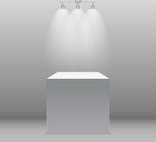 Utställningbegrepp, vit tom ask, ställning med belysning på Gray Background Mall för ditt innehåll vektor 3d Royaltyfri Bild