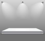 Utställningbegrepp, vit tom hyllaställning med belysning på Gray Background Mall för ditt innehåll 3d Vecto Royaltyfri Bild