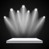 Utställningbegrepp, vit tom hyllaställning med belysning på Gray Background Mall för ditt innehåll 3d Vecto Arkivbilder