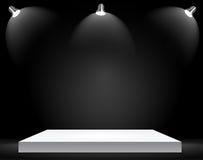 Utställningbegrepp, vit tom hyllaställning med belysning på Gray Background Mall för ditt innehåll 3d Vecto Royaltyfri Foto