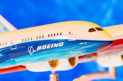 Utställningen modellerar boeing flygplan 787 Ryssland Moscow Juli 2017 Royaltyfri Fotografi