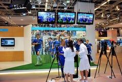 utställningfotbollstand Royaltyfri Foto