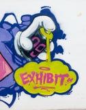 Utställningsgrafitti Arkivfoton