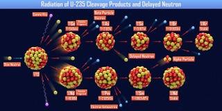 Utstrålning av produkter för dekolletage U-235 och den försenade neutronen stock illustrationer