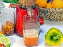 Utsugningsfläktfruktsaft lågt r/min., i att arbeta, producerar ny fruktsaft without Arkivbild