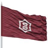 Utsunomiya Capital City Flag on Flagpole, Flying in the Wind, Isolated on White Background Royalty Free Stock Photography