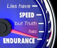 uttålighet har att ha sanning för lieshastighetsspeedometer stock illustrationer