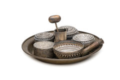 Uttag för betelen, silverbunkebruk till att innehålla betelsidor Arkivbild