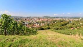 Uttagshoppingstad Metzingen som omges av vingårdar Arkivfoton