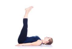 Uttanpadasana da ioga no branco Foto de Stock Royalty Free