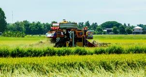Uttaradit, Thailand, Mai 18,2018: Landwirtschaftsfahrzeug erntet Reis auf dem Reisfeld an Uttaradit-Provinz, Thailand Lizenzfreie Stockfotografie