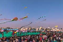 Uttarayan festival i Gujarat, Indien Arkivfoton