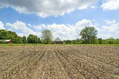 Utter-Gehrig round barn. Pasture Brook Farms. View from cornfield, Spring. Located in Fulton County, Indiana near the town of Athens stock photos