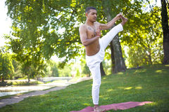 Utthita Hasta Padangushthasana yoga pose. Serene attractive Indian young man in white linen clothes working out on river bank in park, standing in Extended Hand Royalty Free Stock Images