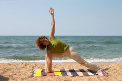 Utthita Parsvakonasana pose Stock Photography
