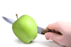Сutting green apple Stock Photo