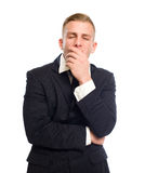 uttråkad affärsman som ser ung arkivfoton